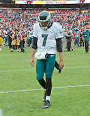 Philadelphia Eagles quarterback Sam Bradford (7) leaves the field after his team's 23-20 loss to the Washington Redskins at FedEx Field in Landover, Maryland on October 4, 2015. The Redskins won the game 23-20.<br /> Credit: Ron Sachs / CNP