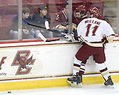 Rocco Carzo (UMass - 12), Pat Mullane (BC - 11) - The Boston College Eagles defeated the University of Massachusetts-Amherst Minutemen 5-2 on Saturday, March 13, 2010, at Conte Forum in Chestnut Hill, Massachusetts, to sweep their Hockey East Quarterfinals matchup.