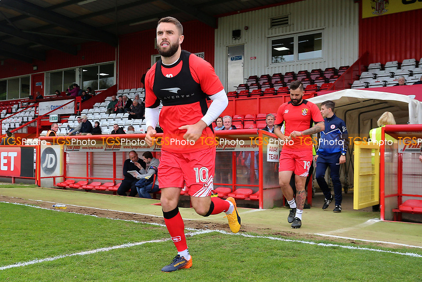 Josh McQuoid of Stevenage takes to the field to warm up during Stevenage vs Accrington Stanley, Sky Bet EFL League 2 Football at the Lamex Stadium on 6th May 2017