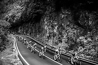 peloton descending towards the Lago di Ledro<br /> <br /> stage 17: Riva del Garda - Iseo (155 km)<br /> 101th Giro d'Italia 2018