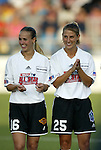 19 June 2003: Philadelphia Charge defender Heather Mitts (16) and Atlanta Beat defender Nancy Augustyniak (25) played for the WUSA American Stars. The WUSA World Stars defeated the WUSA American Stars 3-2 in the WUSA All-Star Game held at SAS Stadium in Cary, NC.