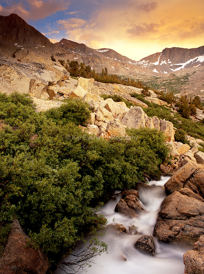 Mather Pass at sunset along the John Muir Trail - Sierra Nevada Mountains, California.