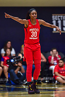 Washington, DC - August 31, 2018: Washington Mystics forward LaToya Sanders (30) points out defensive assignments during semi finals playoff game between Atlanta Dream and Wasington Mystics at the Charles Smith Center at George Washington University in Washington, DC. (Photo by Phil Peters/Media Images International)