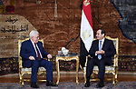 Egyptian President Abdel-Fattah al-Sisi (R) meets with Palestinian President Mahmoud Abbas in Cairo, Egypt, on Dec. 11, 2017. Egyptian President Abdel-Fattah al-Sisi stressed on Monday his country's firm stance on the necessity of preserving the legal and historical status of Jerusalem in a meeting with Palestinian President Mahmoud Abbas in Cairo. Photo by Thaer Ganaim