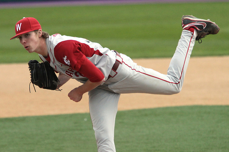Adam Conley, Washington State sophomore closer, fires to the plate during the Cougars extra-innings Pac-10 conference victory over arch-rival Washington in Seattle, Washington, on April 3, 2010.