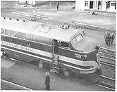 Elevated view of Electro-Motive Division FT #103, a demonstration unit, at Salida on dual-gauge track.<br /> D&amp;RGW  Salida, CO  4/1940