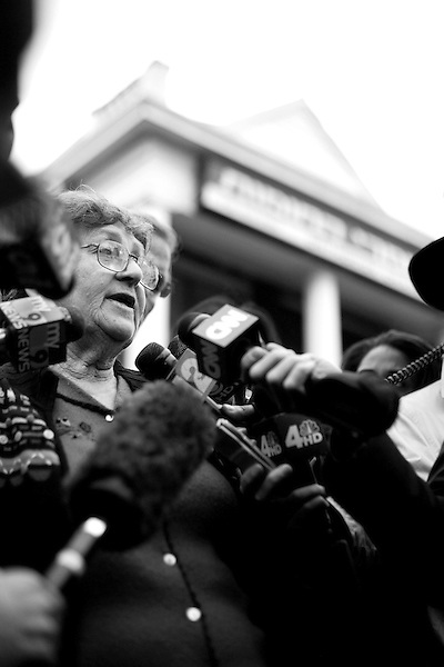Wednesday, April 18,  2007, Brooklyn, New York..A funeral was held in Brooklyn for Professor Librescu, a holocaust survivor and teacher at Virginia Tech, who was killed in the shootings on Monday.. His widow, Marlena Librescu spoke to the press outside the funeral home in Borough park.
