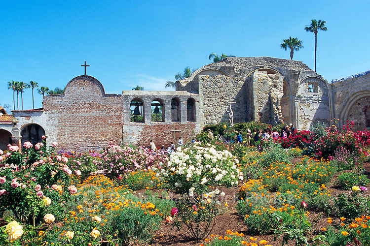 Mission San Juan Capistrano, San Juan Capistrano, California, USA - the Old Church, the Campanario (Bell Wall), and the Great Stone Church - Historic Landmark founded 1776