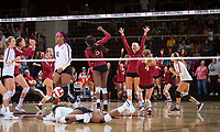 STANFORD, CA - September 9, 2018: Tami Alade, Kathryn Plummer, Meghan McClure, Jenna Gray, Morgan Hentz, Audriana Fitzmorris at Maples Pavilion. The Stanford Cardinal defeated #1 ranked Minnesota 3-1 in the Big Ten / PAC-12 Challenge.