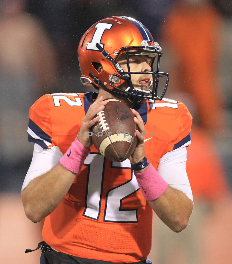 Illinois Fighting Illini, Wes Lunt (12) during a game against the Nebraska Cornhuskers on October 3, 2015 at Memorial Stadium in Champaign, IL. Illinois beat Nebraska 14-13.