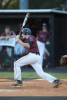 Jacob Baucom (9) of Kannapolis Post 115 follows through on his swing against Mooresville Post 66 during an American Legion baseball game at Northwest Cabarrus High School on May 30, 2019 in Concord, North Carolina. Mooresville Post 66 defeated Kannapolis Post 115 4-3. (Brian Westerholt/Four Seam Images)