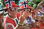 Norwegian fans at sign on before the start of Stage 13 of the 2018 Tour de France running 169.5km from Bourg d'Oisans to Valence, France. 20th July 2018. <br /> Picture: ASO/Bruno Bade | Cyclefile<br /> All photos usage must carry mandatory copyright credit (© Cyclefile | ASO/Bruno Bade)