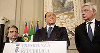 Italy's former Prime Minister and leader of Forza Italia Silvio Berlusconi (C) speaks, flanked by Forza Italia party's members Renato Brunetta (L), and Forza Italia Senator Paolo Romani, at the end of his  consultations  with Italian President Sergio Mattarella at the Quirinale Palace, on December 10, 2016.<br /> UPDATE IMAGES PRESS/IsabellaBonotto