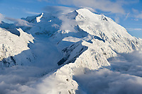 Aerial view of Denali, view looking west along Pioneer ridge and the North and South summits in view.