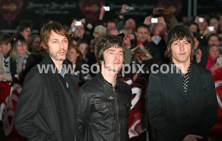 **ALL ROUND PICTURES FROM SOLARPIX.COM**.**WORLDWIDE SYNDICATION RIGHTS**.2007 Brit Awards at Earls Court, London on 14.02.07..This pic: Oasis...JOB REF:  3416     SSD     DATE:  14.02.07.**MUST CREDIT SOLARPIX.COM OR DOUBLE FEE WILL BE CHARGED* *UNDER NO CIRCUMSTANCES IS THIS IMAGE TO BE REPRODUCED FOR ANY ONLINE EDITION WITHOUT PRIOR PERMISSION*