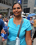 Lisa Edstrom, Hudson Friends Meeting, seen attending the Peoples Climate March in Borough of Manhattan, in New York City, on Sunday, September 21 , 2014. Photo by Jim Peppler. Copyright Jim Peppler 2014 all rights reserved.