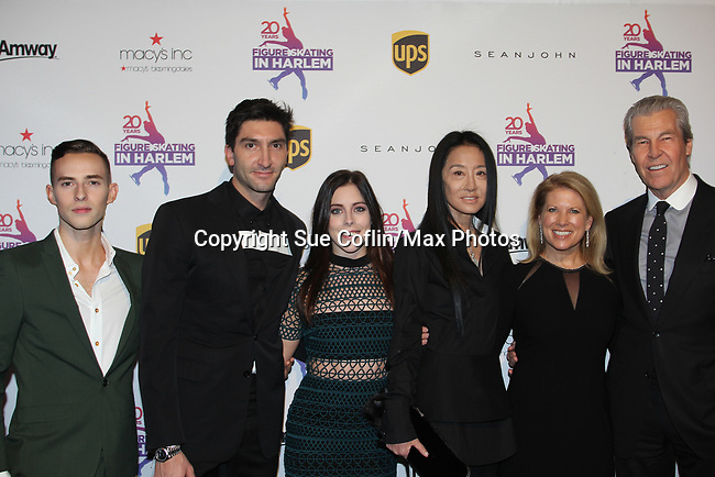 Adam Rippon, Evan Lysacek, Ashley Wagner, Vera Wang, Tina and Terry Lundgren - Figure Skating in Harlem celebrates 20 years - Champions in Life benefit Gala on May 2, 2017 in New York Ciry, New York.   (Photo by Sue Coflin/Max Photos)