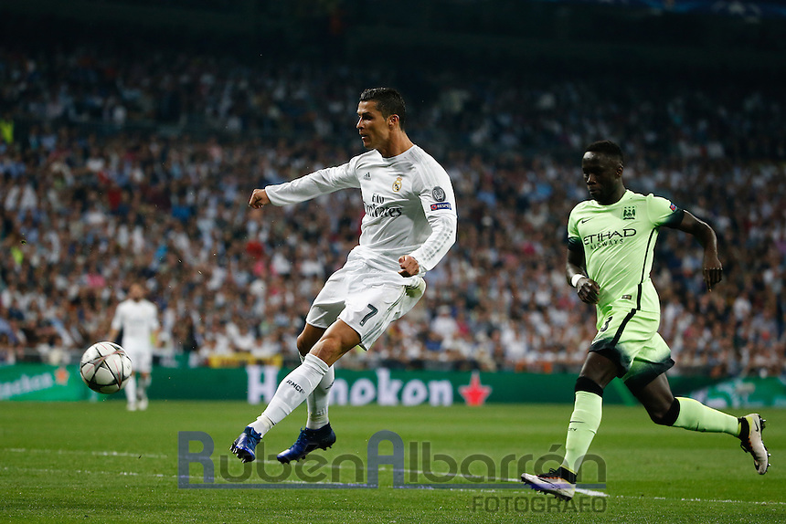 Real Madrid´s Portuguese forward Cristiano Ronaldo during the UEFA Champions League match between Real Madrid and Manchester City at the Santiago Bernabeu Stadium in Madrid, Wednesday, May 4, 2016.