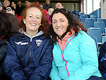Ardee Celtic fans Lynne Woods and Suzanne McConnon at the Drogheda and District schoolboys cup finals in Hunky Dorys park. Photo: Colin Bell/pressphotos.ie