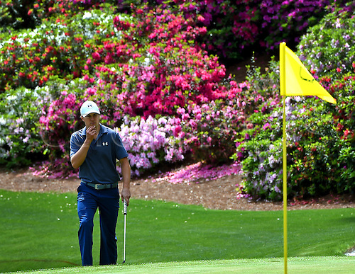 06.04.2016. Augusta, GA, USA. Jordan Spieth examines the 13th green during a practice round on Wednesday, April 6, 2016, at Augusta National Golf Club in Augusta, Ga. First round action of The Masters tournament begins on Thursday. Spieth is the defending champion