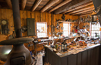 Weston Vermont the famous Old Mill Museum 1780 interior of saw mill tin shop with tools