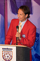 Fernando Clavijo, a fifteen year veteran of the US Soccer National Team, the ASL, NASL, and the MISL, speaks at his induction to the National Soccer Hall of Fame during the  induction ceremony. Wright Soccer Campus, Oneonta, NY, on August  29, 2005.
