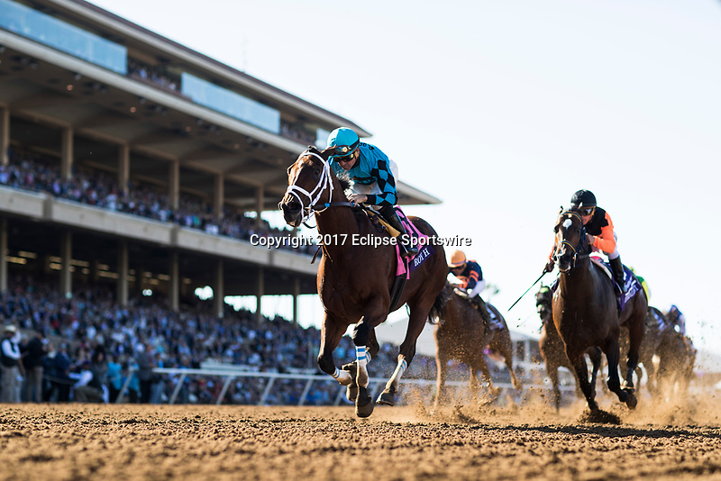 DEL MAR, CA - NOVEMBER 04: Roy H #8, ridden by Kent J. Desormeaux, takes the the home stretch while holding off Imperial Hint #10, ridden by Javier Castellano, on Day 2 of the 2017 Breeders' Cup World Championships at Del Mar Thoroughbred Club on November 4, 2017 in Del Mar, California. (Photo by Alex Evers/Eclipse Sportswire/Breeders Cup)