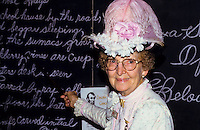 Old female school teacher in front of the blackboard in Tombstone wild west   outdoor museum in Arizona, USA