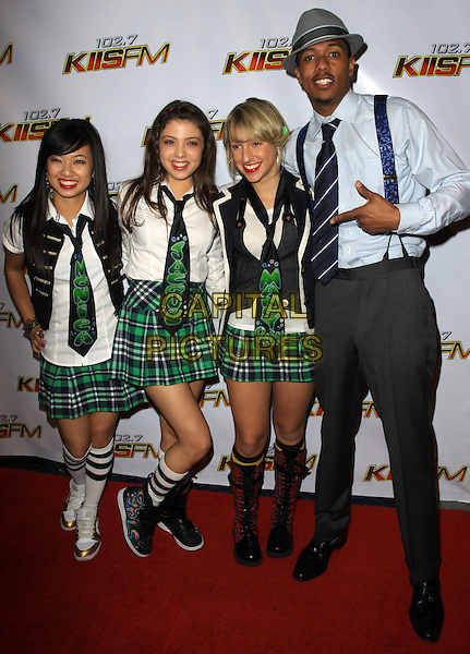 NICK CANNON & his Dance Crew.at KIIS FMís Jingle Ball 2009, Nokia LA Live Theatre, Los Angeles, California, USA, 5th December 2009..full length grey gray hat trilby braces shirt tie blue trousers green tartan plaid skirts ties girls trainers boots hi-tops finger pointing .CAP/ADM/KB.©Kevan Brooks/AdMedia/Capital Pictures.