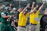 SEPTEMBER 13, 2014 -- The Black Hills State sideline celebrates a stop against South Dakota Mines during their college football game Saturday at Lyle Hare Stadium in Spearfish, S.D.  (Photo by Dick Carlson/Inertia)
