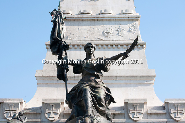 Detail of the Monument to Prince Henry the Navigator in Porto, Portugal.