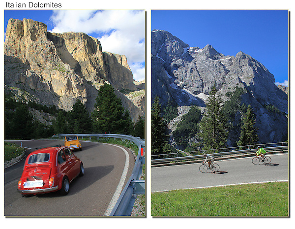 People enjoying the Dolomite Road, northern Italy.