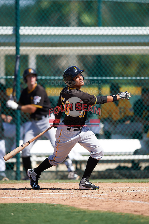 Pittsburgh Pirates Adrian Valerio (59) during an Instructional League Intrasquad Black & Gold game on September 20, 2016 at Pirate City in Bradenton, Florida.  (Mike Janes/Four Seam Images)