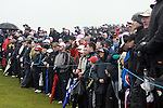 The Gallery watch as Miguel Angel Jimenez Playing his 3rd shot on the green on the 5rd hole during day two of the 3 Irish Open..Pic Fran Caffrey/golffile.ie