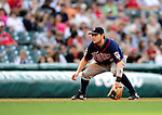 5 September 2009: Minnesota Twins' infielder Brendan Harris in action against the Cleveland Indians at Progressive Field in Cleveland, Ohio. The Twins defeated the Indians 4-1 in the second game of their three-game weekend series. Mandatory Credit: Ed Wolfstein Photo