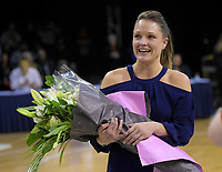 Saints general manager Fran Scholey is given a bouquet after the national basketball league final  between Wellington Saints and Southland Sharks at TSB Bank Arena in Wellington, New Zealand on Sunday, 5 August 2018. Photo: Dave Lintott / lintottphoto.co.nz