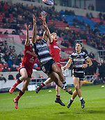 16th March 2018, The AJ Bell Stadium, Salford, England; Betfred Super League rugby, Salford Red Devils versus Hull FC; Jake Bibby and Kris Welham contest a high ball  with Fetuli Talanoa of Hull FC