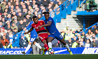 Adrian Mariappa of Watford battles Michy Batshuayi of Chelsea during the Premier League match between Chelsea and Watford at Stamford Bridge, London, England on 21 October 2017. Photo by Andy Rowland.