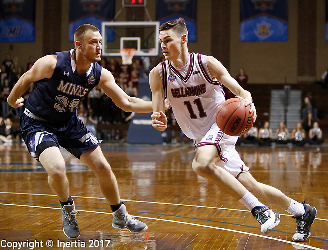SIOUX FALLS, SD: MARCH 22:  Alex Cook #11 o Bellarmine drives on Murphy Gershman #33 of Colorado Mines during the Men's Division II Basketball Championship Tournament on March 22, 2017 at the Sanford Pentagon in Sioux Falls, SD. (Photo by Dick Carlson/Inertia)