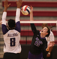 Arkansas Democrat-Gazette/STATON BREIDENTHAL --10/29/19-- Action from Tuesday's Mount St. Mary Academy vs. Fayetteville match in the 6A state Volleyball Tournament in Cabot.