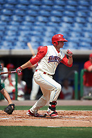 Clearwater Threshers first baseman Kyle Martin (27) bats during a game against the Daytona Tortugas on April 20, 2016 at Bright House Field in Clearwater, Florida.  Clearwater defeated Daytona 4-2.  (Mike Janes/Four Seam Images)