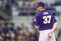 LSU Tigers pitcher Ryan Eades #37 looks to his catcher for the sign against the Auburn Tigers in the NCAA baseball game on March 23, 2013 at Alex Box Stadium in Baton Rouge, Louisiana. LSU defeated Auburn 5-1. (Andrew Woolley/Four Seam Images).
