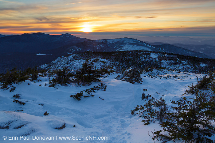 Sunset from Greenleaf Trail on Mount Lafayette in the White Mountains, New Hampshire USA during the winter months.