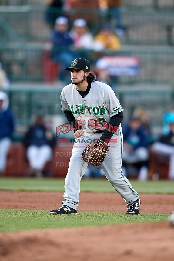 Clinton LumberKings third baseman Joe Rizzo (10) during a game against the South Bend Cubs on May 5, 2017 at Four Winds Field in South Bend, Indiana.  South Bend defeated Clinton 7-6 in nineteen innings.  (Mike Janes/Four Seam Images)