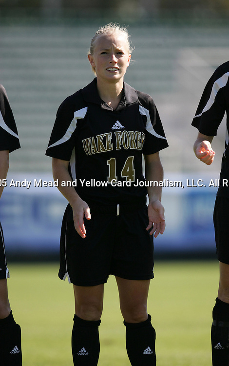 Wake's Elizabeth Remy on Wednesday, November 2nd, 2005 at SAS Stadium in Cary, North Carolina. The University of Virginia Cavaliers defeated the Wake Forest Demon Deacons 2-1 during their Atlantic Coast Conference Tournament Quarterfinal game.