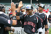 August 8, 2009:  J.D. Williams of the Baseball Factory team celebrates after winning the Under Armour All-America game at Wrigley Field in Chicago, Illinois.  (Copyright Mike Janes Photography)