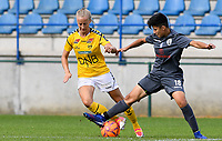 20190813 - DENDERLEEUW, BELGIUM : PAOK's Anastasia Gkatsou (right) pictured in a fight for the ball with LSK's Anja Sonstevold (left) during the female soccer game between the Greek PAOK Thessaloniki Ladies FC and the Norwegian LSK Kvinner Fotballklubb Ladies , the third and final game for both teams in the Uefa Womens Champions League Qualifying round in group 8 , Tuesday 13 th August 2019 at the Van Roy Stadium in Denderleeuw  , Belgium  .  PHOTO SPORTPIX.BE for NTB | DAVID CATRY