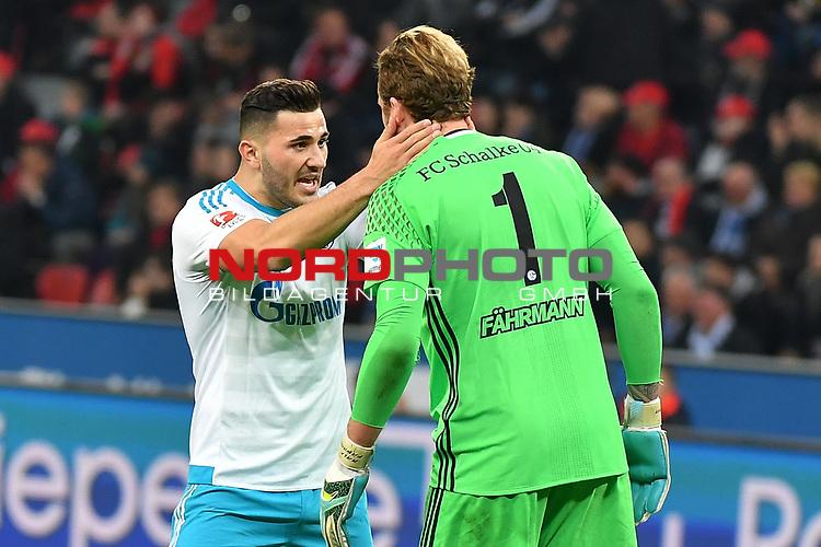 28.04.2017, BayArena, Leverkusen , GER, 1.FBL., Bayer Leverkusen 04 vs. FC Schalke 04<br /> im Bild / picture shows: <br /> li Sead Kolasinac (FC Schalke #6), freut sich mit Ralf F&auml;hrmann/Faehrmann Torwart (FC Schalke #1), &uuml;ber das 3:0 <br /> <br /> <br /> <br /> Foto &copy; nordphoto / Meuter