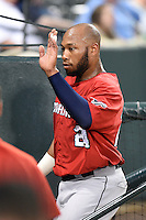 Oklahoma City RedHawks first baseman Jon Singleton (24) after scoring a run during a game against the Memphis Redbirds on May 23, 2014 at AutoZone Park in Memphis, Tennessee.  Oklahoma City defeated Memphis 12-10.  (Mike Janes/Four Seam Images)