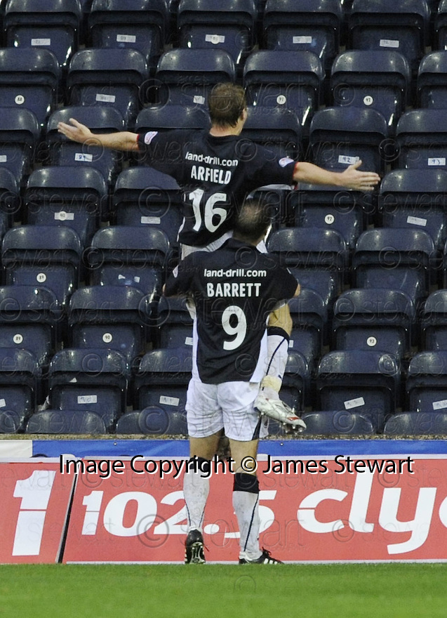 25/10/2008  Copyright Pic: James Stewart.File Name : sct_jspa08_kilmarnock_v_falkirk.SCOTT ARFIELD IS CONGRATULATED BY GRAHAM BARRETT AFTER HE SCORES FROM THE PENALTY SPOT.James Stewart Photo Agency 19 Carronlea Drive, Falkirk. FK2 8DN      Vat Reg No. 607 6932 25.Studio      : +44 (0)1324 611191 .Mobile      : +44 (0)7721 416997.E-mail  :  jim@jspa.co.uk.If you require further information then contact Jim Stewart on any of the numbers above........